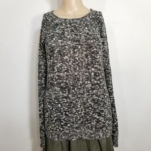 Sanctuary Marled Black Cable Knit Sweater Small